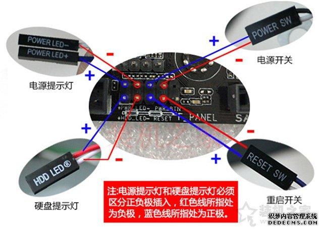 POWER SW、RESET SW、POWER LED、HDD LED电脑主板跳线怎么接?